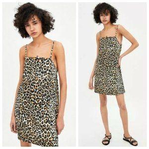 Zara Leopard Mini Square Neck Bodycon Cami Dress